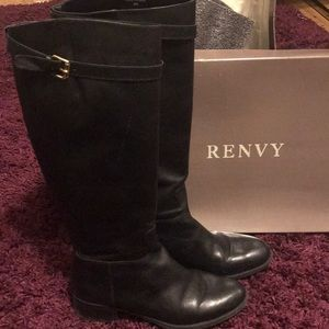 Renvy Knee High Leather Boots with Buckle Detail